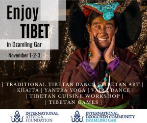Enjoy Tibet a Dzamling Gar in webcast, 1 e 3 novembre