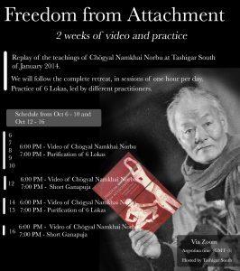 'Freedom from Attachment': pratiche online da Tashigar South